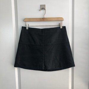 Faux Leather Black Mini Skirt